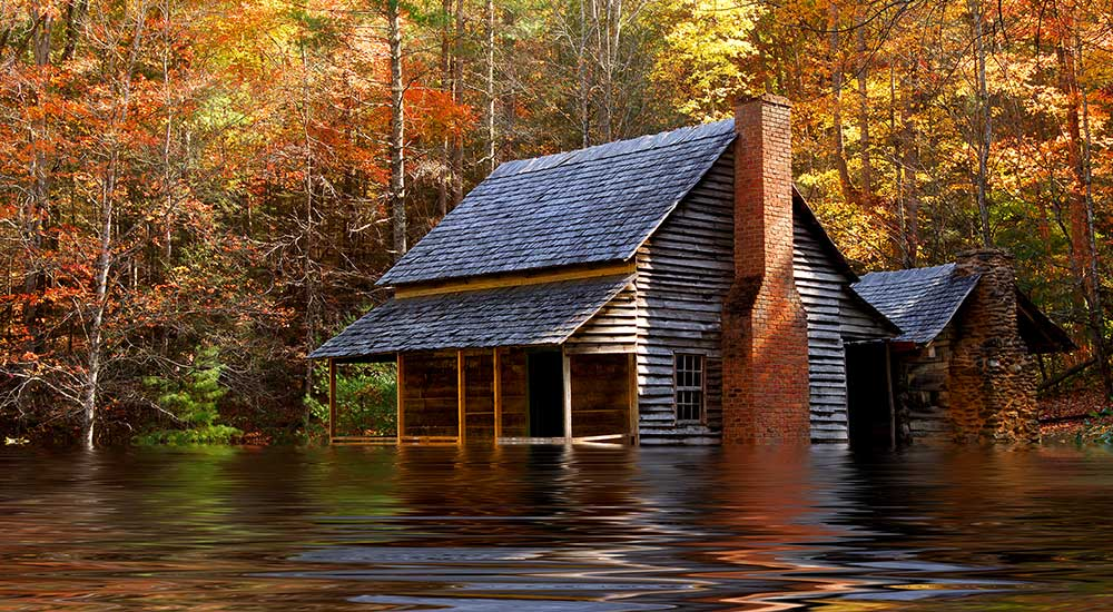 flooded cabin